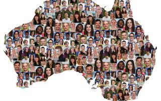 map of Australia filled in by the faces of different people