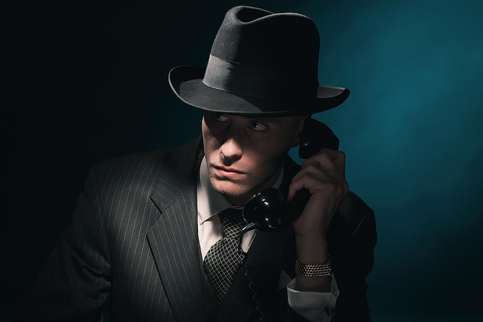shady man on the phone