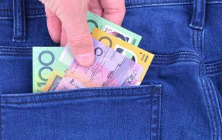 Australian dollar notes been put in back pocket