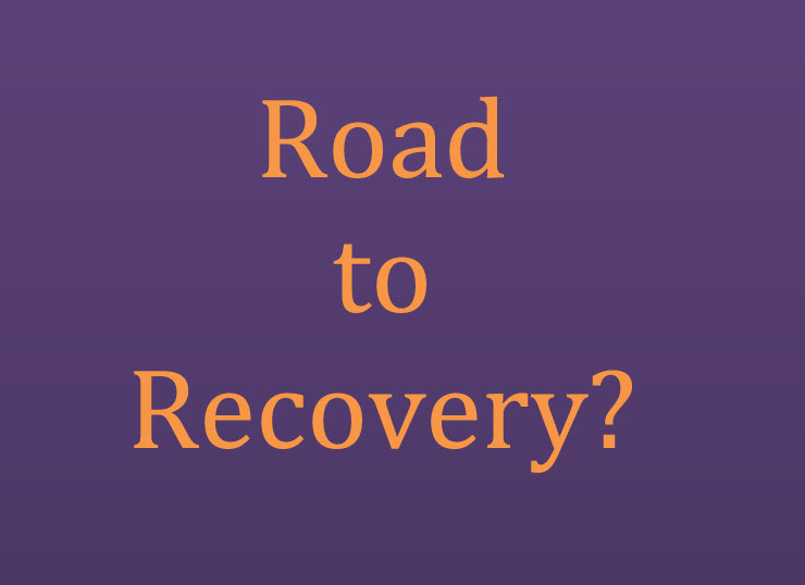 Road to recovery organce text on purple background