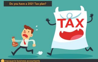 cartoon man holding a bag of money running from a monster called tax
